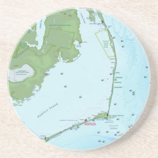 Outer Banks Map Beverage Coasters