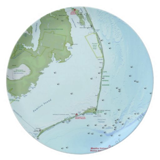 Outer Banks Map Party Plates
