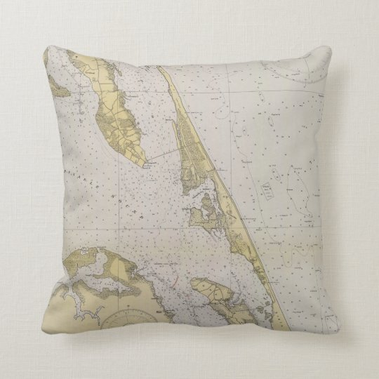 Outer Banks nautical chart map Throw Pillow