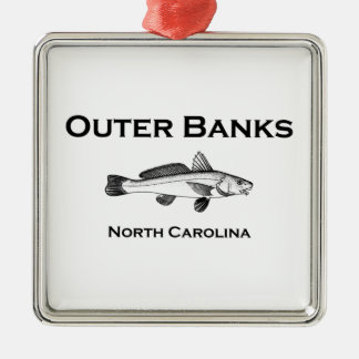 Outer Banks North Carolina Surf Fishing Silver-Colored Square Ornament