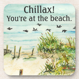 Outer Banks Sand Dunes and Seagulls Beverage Coaster