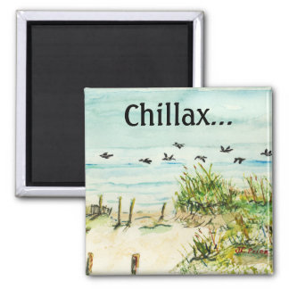 Outer Banks Sand Dunes and Seagulls Fridge Magnets
