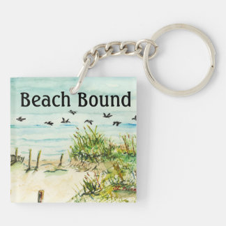 Outer Banks Sand Dunes and Seagulls Square Acrylic Keychain