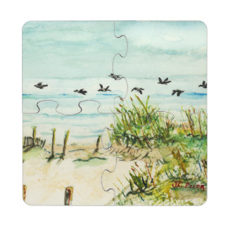 Outer Banks Sand Dunes and Seagulls Puzzle Coaster