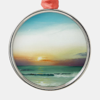 Outer Banks Sunrise Silver-Colored Round Ornament