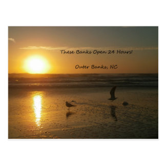 Outer Banks Sunrise:  These Banks Open 24 Hours! Postcard