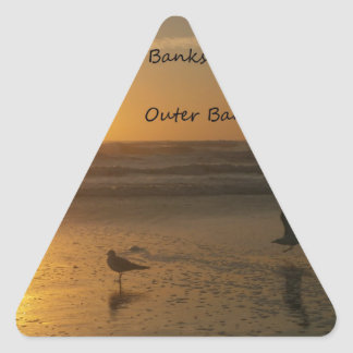 Outer Banks Sunrise:  These Banks Open 24 Hours! Triangle Sticker