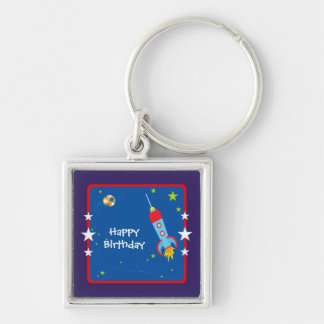 Outer Space 1 Happy Birthday Silver-Colored Square Keychain