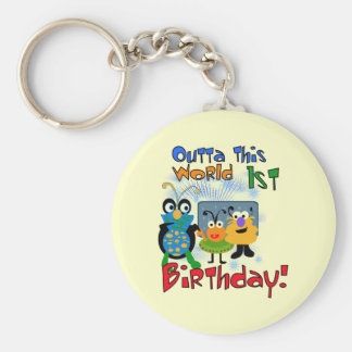 Outer Space 1st Birthday Tshirts and Gifts Basic Round Button Keychain