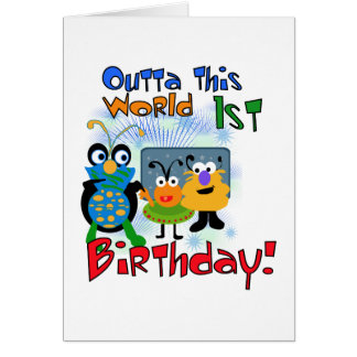 Outer Space 1st Birthday Tshirts and Gifts Card