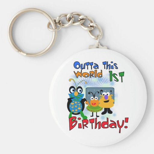 Outer Space 1st Birthday Tshirts and Gifts Key Chains