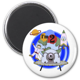 Outer Space 2nd Birthday T-shirts and Gifts 2 Inch Round Magnet