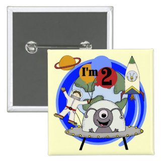 Outer Space 2nd Birthday T-shirts and Gifts 2 Inch Square Button