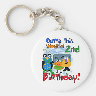 Outer Space 2nd Birthday Tshirts and Gifts Basic Round Button Keychain