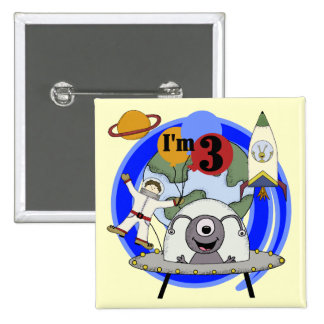 Outer Space 3rd Birthday Tshirts and Gifts 2 Inch Square Button