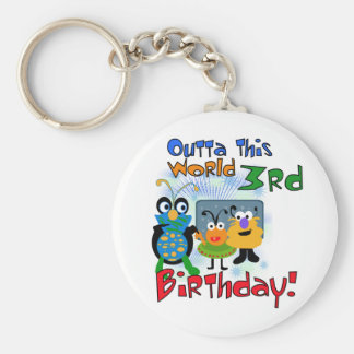Outer Space 3rd Birthday Tshirts and Gifts Basic Round Button Keychain