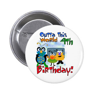Outer Space 4th Birthday Tshirts and Gifts Pin