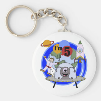 Outer Space 5th Birthday Tshirts and Gifts Basic Round Button Keychain