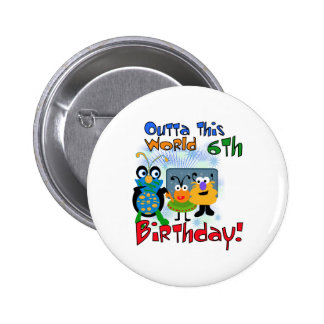 Outer Space 6th Birthday Pinback Button