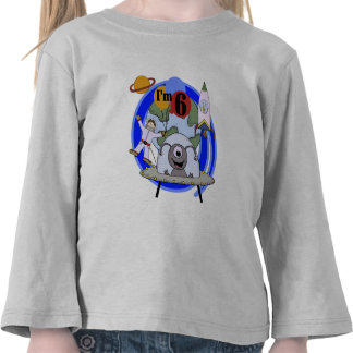 Outer Space 6th Birthday  Tshirts and Gifts