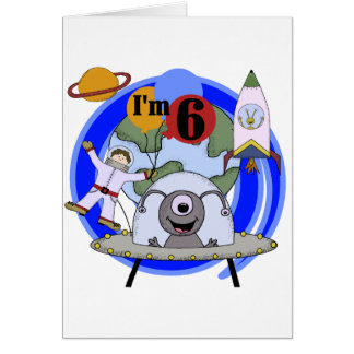 Outer Space 6th Birthday  Tshirts and Gifts Card