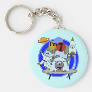 Outer Space 7th Birthday Tshirts and Gifts Basic Round Button Keychain