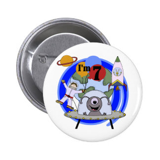 Outer Space 7th Birthday Tshirts and Gifts Pinback Buttons