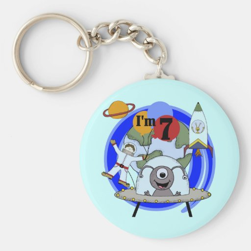 Outer Space 7th Birthday Tshirts and Gifts Keychain