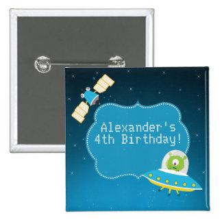 Outer Space Alien Boy Birthday Button