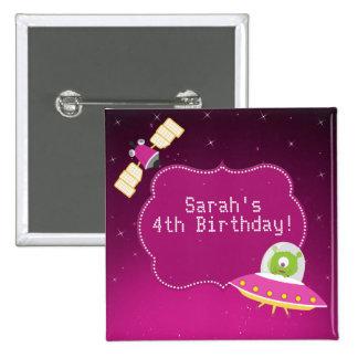 Outer Space Alien Girl Birthday Button