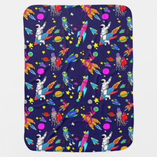outer space alien rodeo with rockets baby blanket