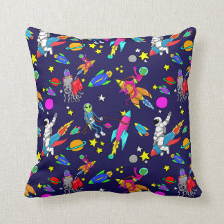 outer space aliens rodeo throw pillow
