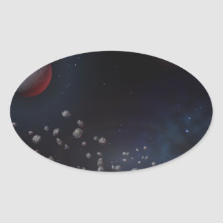 Outer Space Asteroids & Planets Oval Sticker