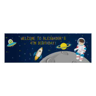 Outer Space Astronaut Birthday Banner Poster