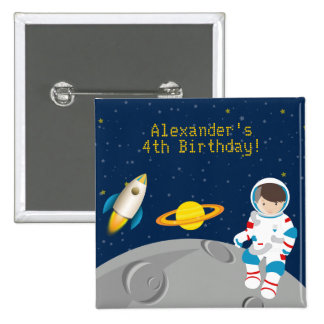 Outer Space Astronaut Birthday Button