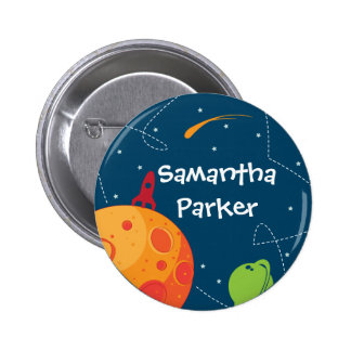 Outer Space Astronaut Birthday Favor Button