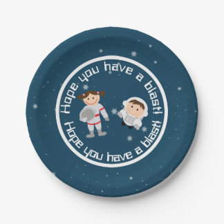 Outer Space Astronaut Children's Birthday Party Paper Plate