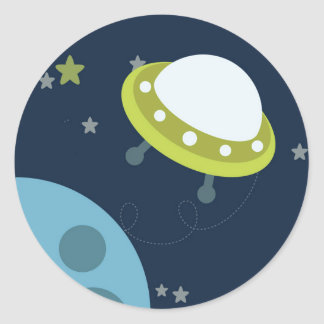 Outer Space Birthday Baby Envelope Sticker Seal