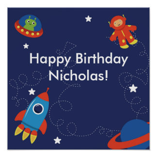 Outer Space Personalized Birthday Poster