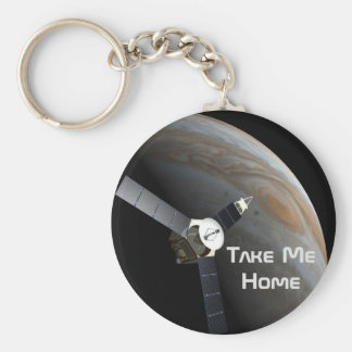 Outer space planet and probe keychain