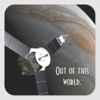 Outer space planet and probe square sticker