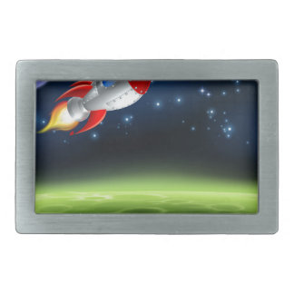 Outer Space Planet Cartoon Background Rectangular Belt Buckle