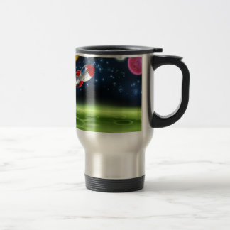 Outer Space Planet Cartoon Background Travel Mug