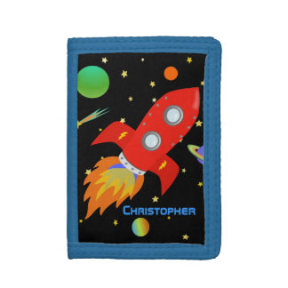 Outer Space Rocket Personalized Trifold Wallets