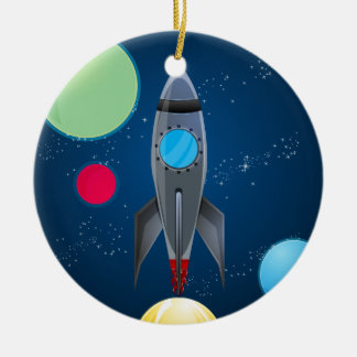 Outer Space Rocket Ship Round Ceramic Ornament
