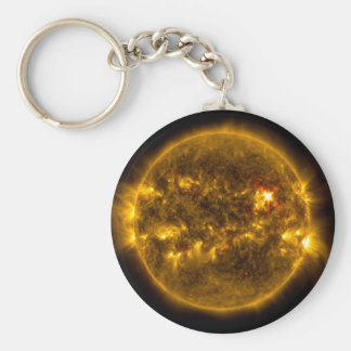 Outer Space Sun with Solar Flares Keychain