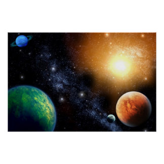Outer Space Wall Mural Poster Boys Bedroom