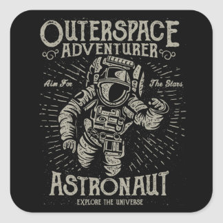Outerspace Adventurer Astronaut Aim For The Stars Square Sticker