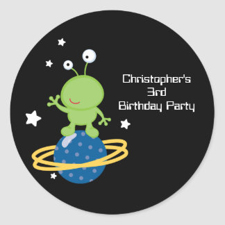 Outerspace alien boy's birthday party stickers