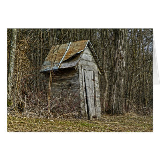 outhouse, rustic, old outhouse, Minnesota, woods Card